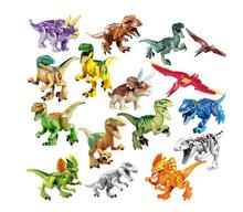 16 pçs/lote Dinossauros do Mundo Figuras Blocos de Construção Filme Jurassical Models & Construção Dom Brinquedos os Melhores Presentes Para As Crianças