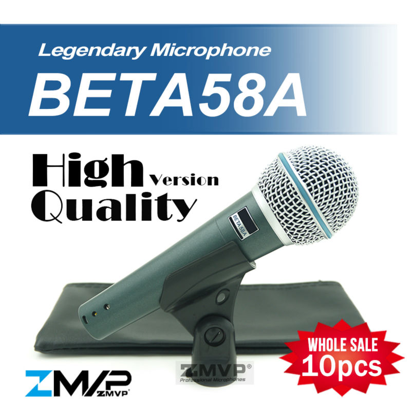 Free Shipping 10pcs High Quality Version Beta 58a Vocal Karaoke Handheld Dynamic Wired Microphone BETA58 Microfone Beta 58 A Mic  free shipping high quality version sm 58 58lc sm58lc wired vocal karaoke handheld dynamic microphone microfone microfono mic