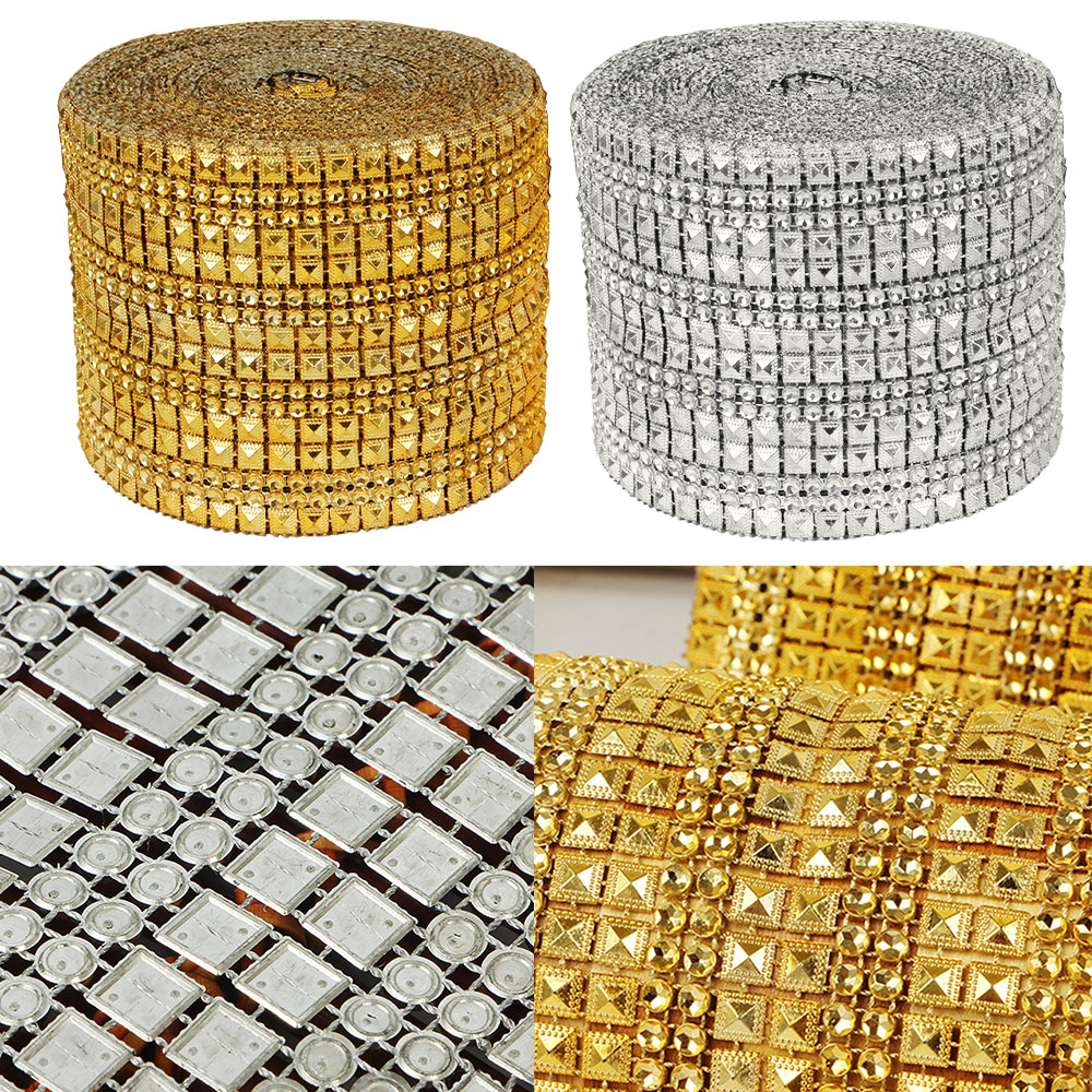 1 Yard Diamond Rhinestone Ribbon Mesh Wrap Wedding Party