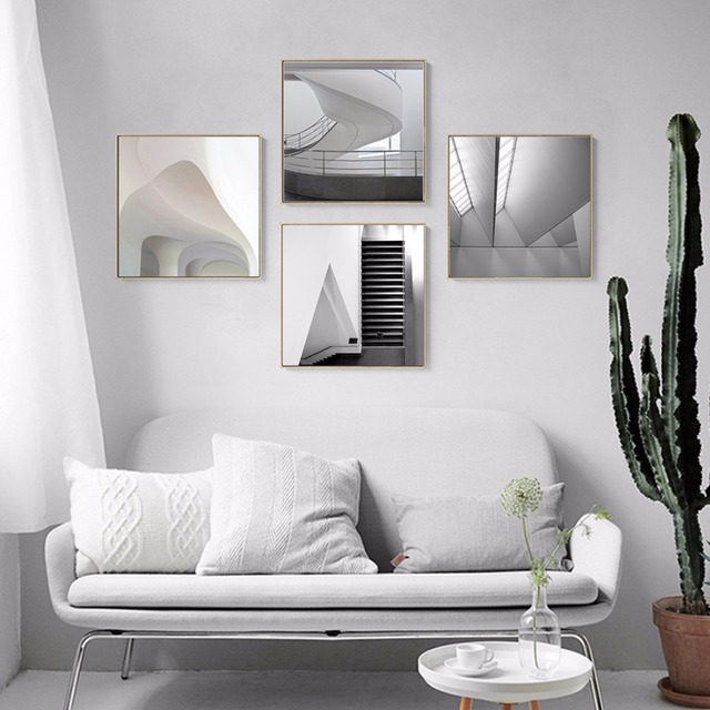 Kreatywne Projektowanie 3d Czarno Białe Miejsca Canvas Reprodukcja