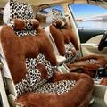 Nuevas cubiertas de autos de invierno cubierta de asiento de coche protector estilo leopard felpa 5 asientos universales cubre car-styling interior accesorios
