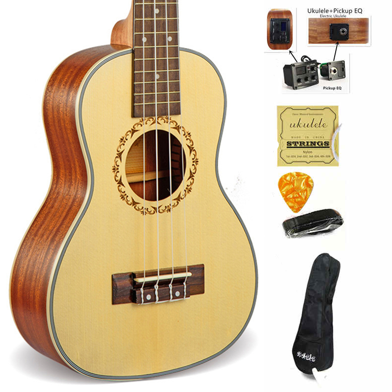23 inch Ukulele Concert Hawaii 4 String mini guitar Acoustic Electric Ukelele Cavaquinho guitare Music instrument With pickup EQ 23ukulele concert mini hawai guitar mahogany body fishing bone pattern electric ukelele with pickup eq uku gitara