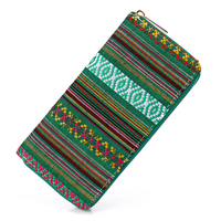 Sansarya 2017 Tribal Jacquard Woven Green Long Women Wallet Boho Ladies Card Holder Aztec Female Purse