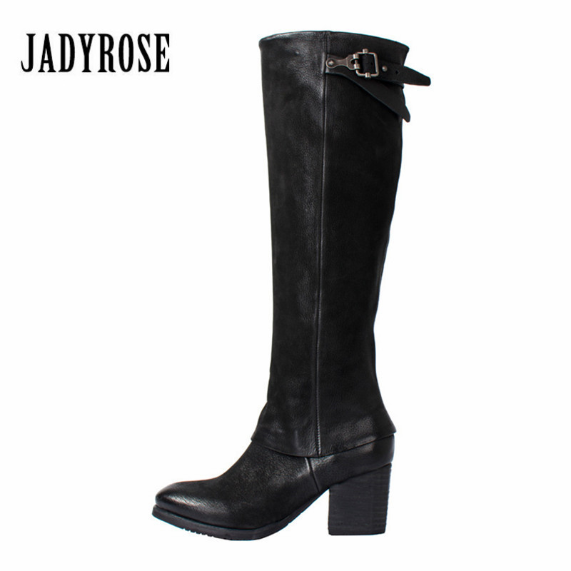 Jady Rose Black Women Knee High Boots Female High Heel Martin Boots Genuine Leather Shoes Woman Platform High Botas Mujer jady rose vintage brown women genuine leather mid calf boot chunky high heel platform boots straps buckle decor martin botas