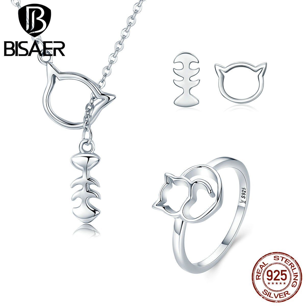 Jewelry & Accessories Jewelry Sets & More Realistic 925 Sterling Silver Lovely Cat Love Fish Bone Women Pendant Necklace Stud Earrings Ring Jewelry Sets Silver Jewelry Wes041 Modern Techniques