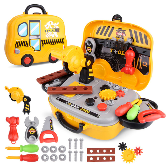 US $17 87 |Portable Engineer Tools Toy Role Play Builder Toy Tool Chainsaw  Screw Hammer Repair Tool Parent child Interaction Gift-in Tool Toys from