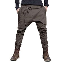 men Harem Pants brand 2016 Casual Sagging pants men Trousers Drop Crotch Pant Men Joggers Feet pants hanging crotch