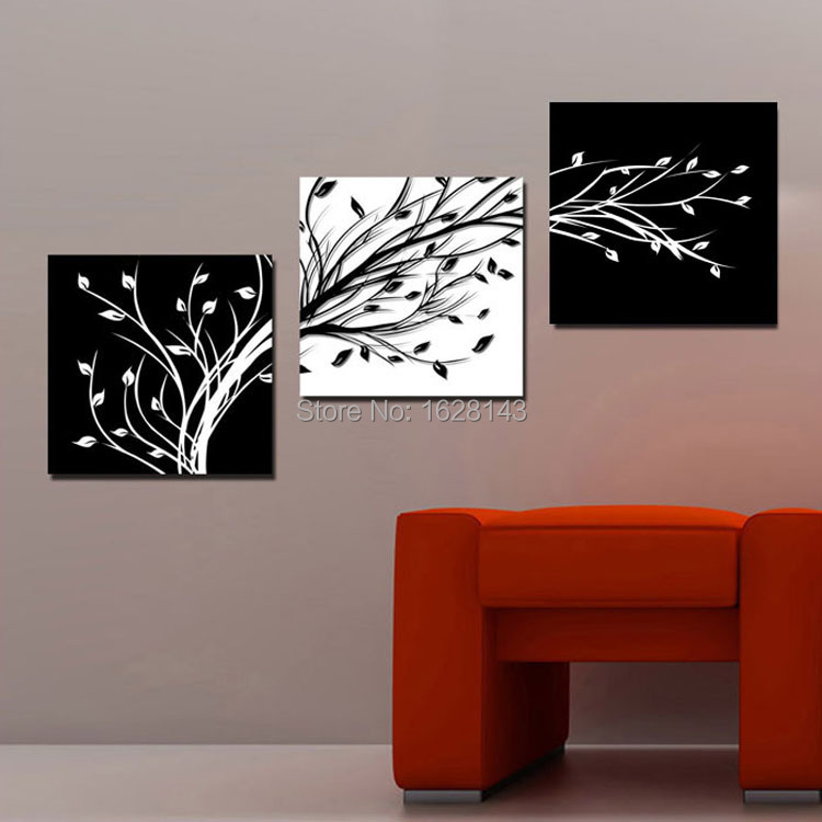 Top Quality 3 Panel Modern Abstract Oil Paintings Tree Branch Simple Black  White Canvas Art Home Decoration Wall Pictures 3p307 In Painting U0026  Calligraphy ...