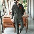 Men sportwear suits spring autumn new casual jacket + trousers fashion solid color men's baseball jacket plus size M-5XL,TZ161
