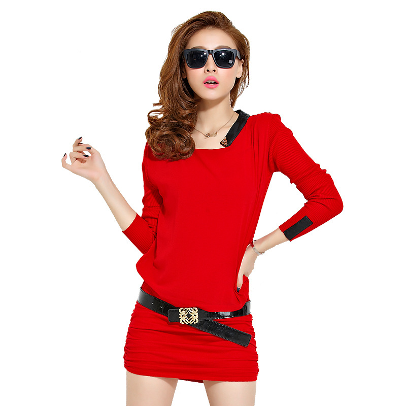 2014 New Arrival Top Fasion Silk Casual Desigual Cathy Autumn Knitted Basic Slim Hip Long-sleeve Sweater One-piece Dress 8613