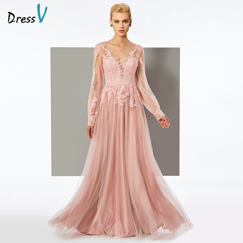 Dressv long   evening     dress   v neck floor length long sleeves a line appliques wedding party formal   dress   women   evening     dresses