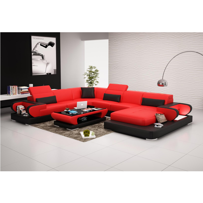 Modern Cheap U Shaped Leather Sectional Sofa In Living Room Sets