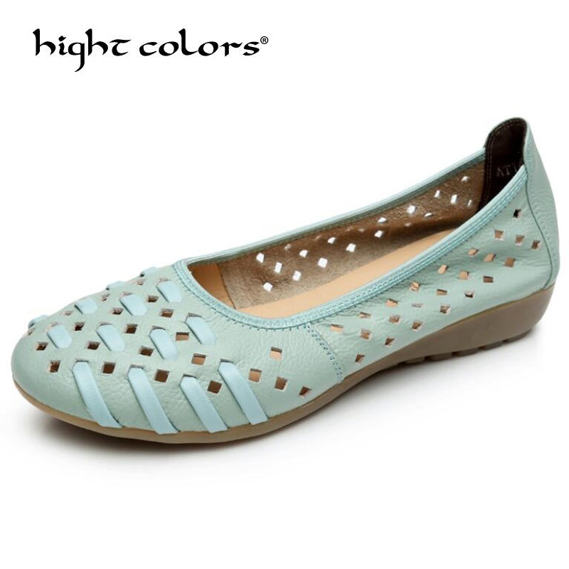 Hollow Outs Breathable Summer Shoes Women Flats Genuine Leather Soft Women Loafers Ladies Moccasins Female Ballet Flats Size 43 2018 new summer handmade breathable women s shoes genuine leather female hole loafers soft outsole casual shoes flats