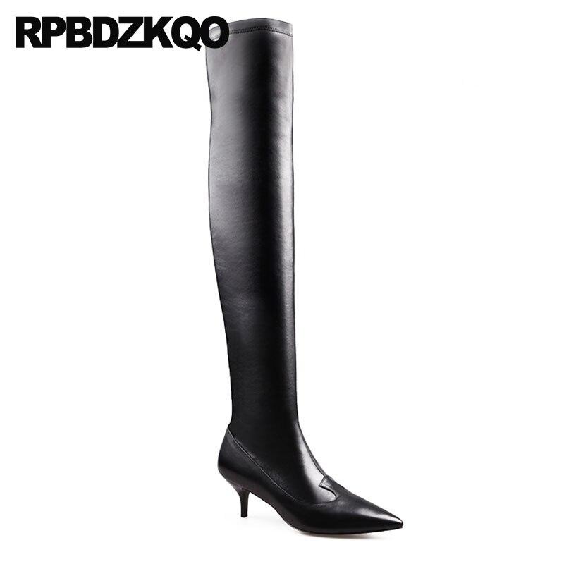 À Hiver Talons Femmes Bottes Hauts Marque Noir Du Aiguilles Bout Cuisse De 2018 Genou Sur Pointu Sexy Le Qualité Luxe Chaussures Long Mince Tronçon zPvqpdPrw