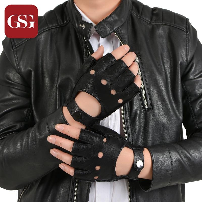 GSG Pánské černé bezprsté jízdní jelení kůže kožené rukavice napůl prstem Motocyklové pánské rukavice Unlined