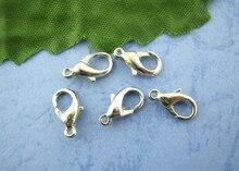 Fermoirs de homard en alliage à base de Zinc 8 saisons, couleur argent, résultats de bijoux à la mode, 12mm x 6mm, 100 pièces