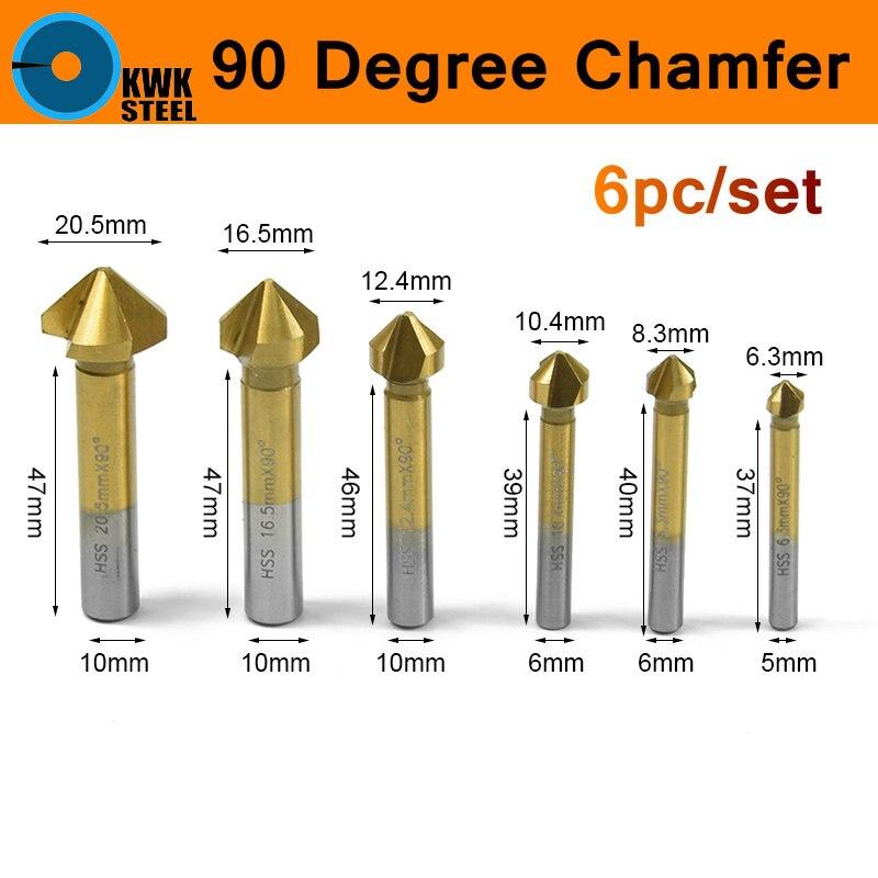 Fase Senker Bits HSS 90 Grad Holz Anfasen Cutter 6 teil/satz Hss Schaftfräser Cutter Bit 6-19mm Titan Mantel