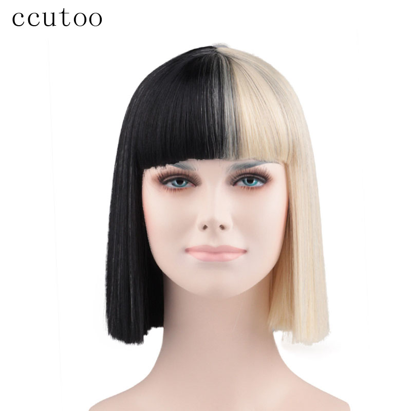 Ccutoo Sia Bangs Trim To Eyes Half Black And Blonde Medium Synthetic Hair Cosplay Wig Halloween Party Wigs Heat Resistance Fiber