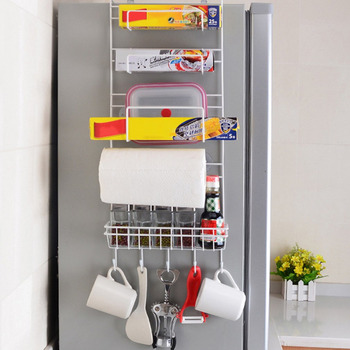 الثلاجة رف الجانب الرف جدار حامل متعدد الوظائف لوازم المطبخ منظم المنزلية متعدد الطبقات تخزين الثلاجة