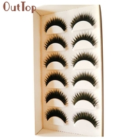 2017 Hot  Fashion Women 6 Pair Handmade Black Thick False Eyelashes Lashes Voluminous Makeup Eye Lashes Extension Mar9