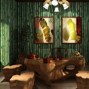 Vitnage Chinese 3D Bamboo Wallpapers,Waterproof PVC Wallpaper for Dining Room Restaurant Living Wall Decals