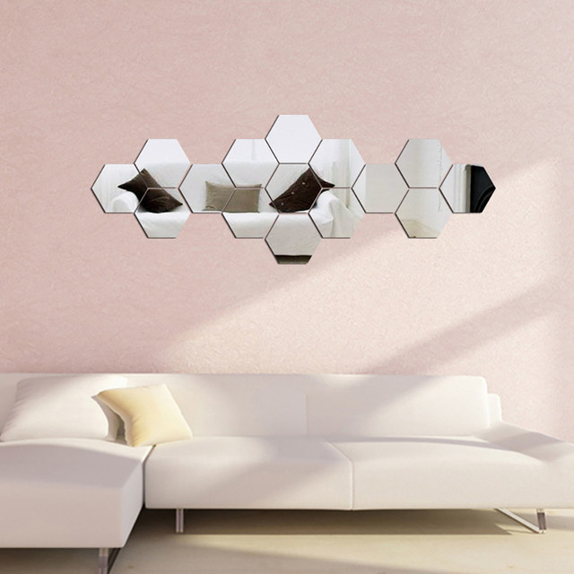 7pcs Silver Diy Hexagon Mirror Wall Stickers Removable Vinyl Art