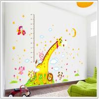 New Large Size Height Wall Stickers Super Giraffe Moon Height Sticker Children Kindergarten Cartoon Animal Measure