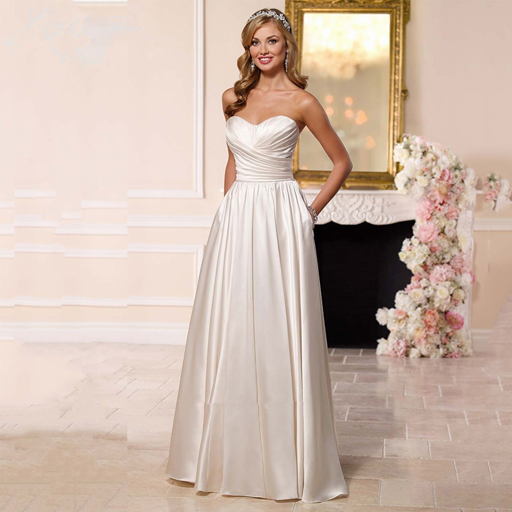 Simple Cheap 2018 Made In China Satin Brides bridal Gown A Line Pleated Vestidos de Noiva Casamento   bridesmaid     dresses