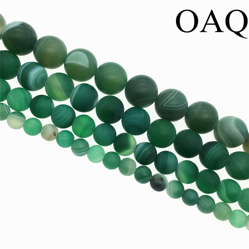 Wholesale 6-12mm Natural Onyx Bedas Green Dull Polish Stripe Carnelian Gem Round Loose Natural Stone Beads For jewelry making
