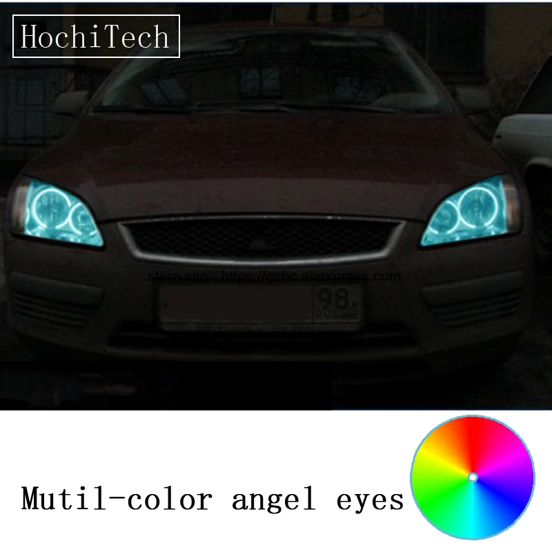 HochiTech for Ford Focus II Mk2 2004-2008 car styling RGB LED Demon Angel Eyes Kit Halo Ring Day Light DRL with a remote control радиатор охл для а м ford focus ii a c 05 lrc fdfs03392