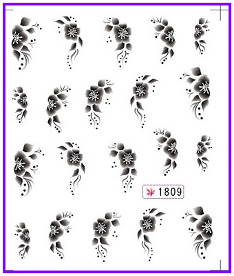 6 PACK/ LOT  GLITTER WATER DECAL NAIL ART NAIL STICKER BLACK FLOWER CHERRY BLOSSOM ACTINIA SY1809-1814 linnette erocak our discovery island 1 pupils book