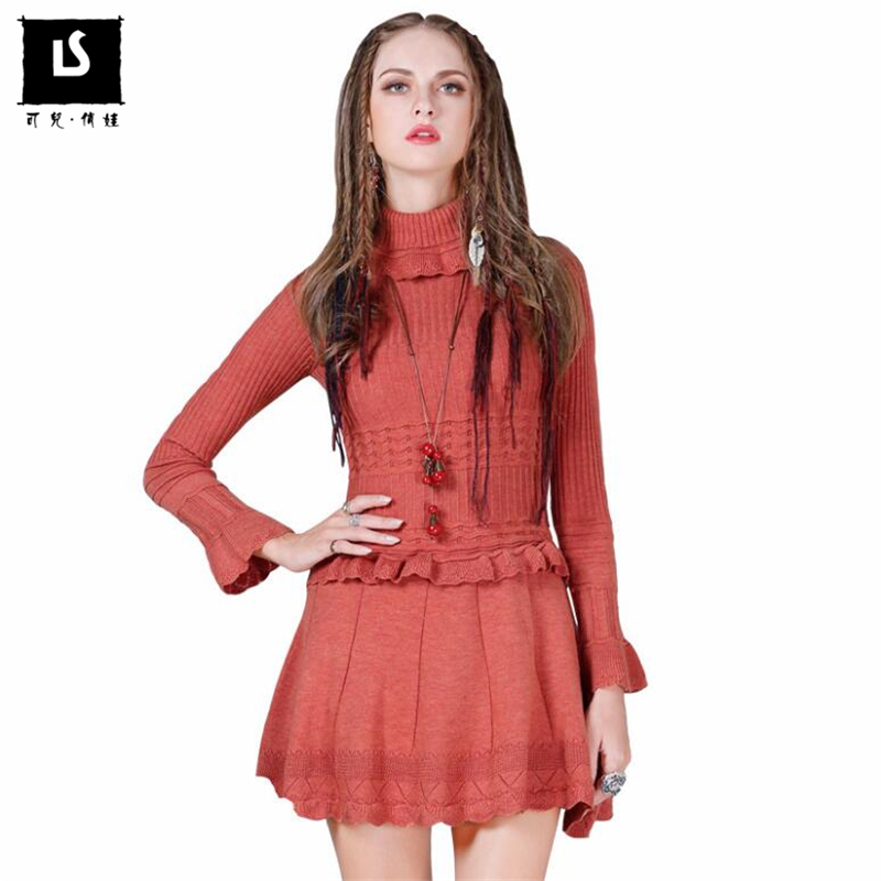 Autumn Winter Wool Warm High Collar Sweater Dress Women s Sweaters Vintage Sexy Mini Dress Lotus