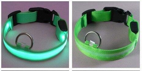 Green lights new Nylon Flashing Dog Collar Pets Collar Flashing LED Light For Visability Flashing Light Collars Free shipping