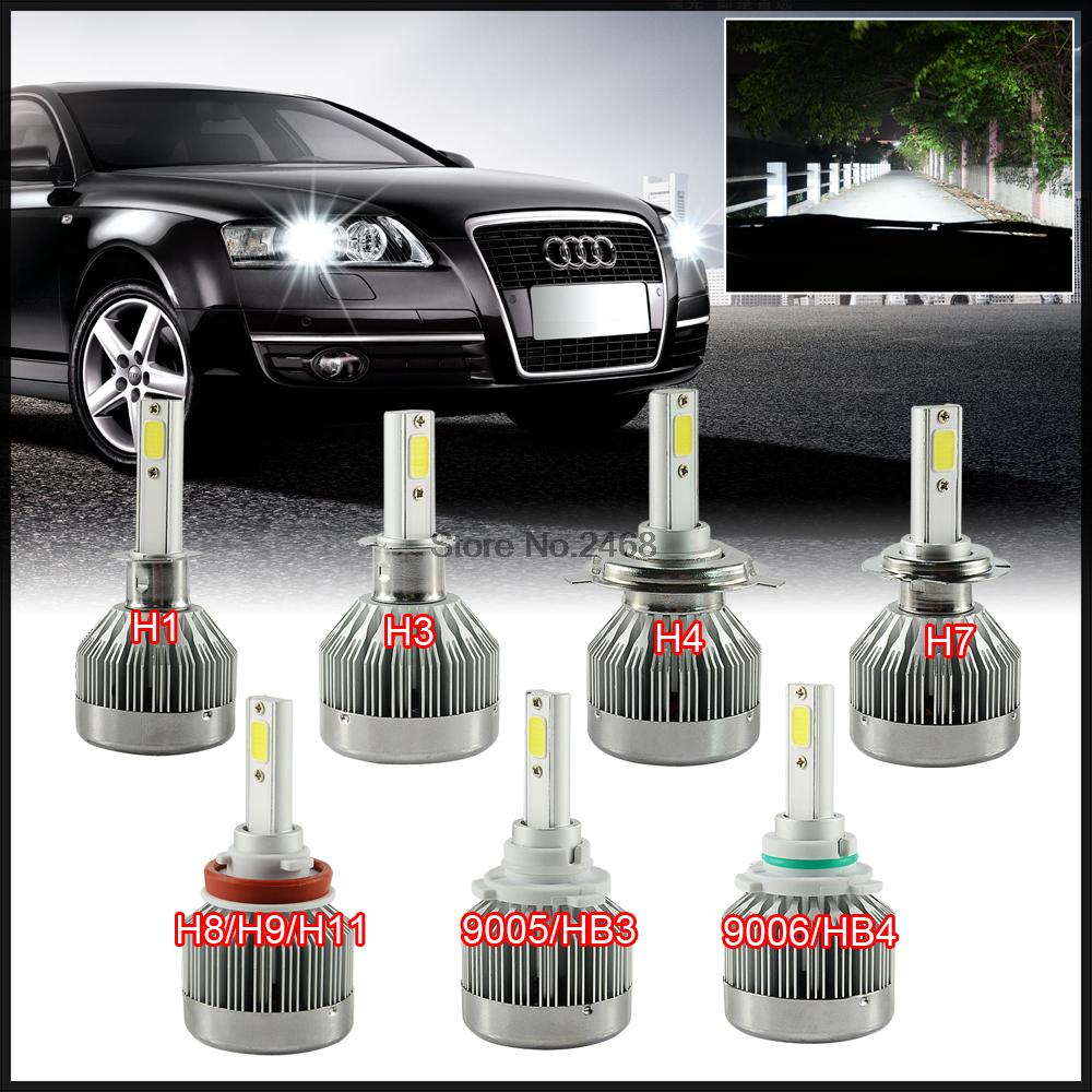 Pair Car Led Headlights H7 H8 H11 Hb3 9005 9006 H1 H3 H4 H10 5202
