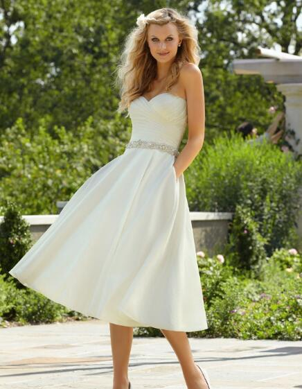 US $67.15 15% OFF|Casual Elegant Style Newly A Line Sweetheart Beading With  Pockets Plus Size Satin Wedding Dresses Tea Length-in Wedding Dresses from  ...