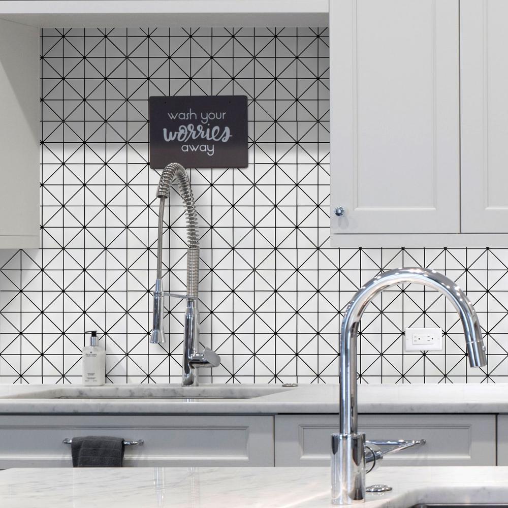 - Peel And Stick Black White Mosaic Tile Backsplash 4-Pack Easy