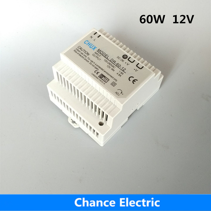 DR-60w-12 Din Rail Switching power supply 60W 12V DC 5A Output for led light ac dc dr 60 5v 60w 5vdc switching power supply din rail for led light free shipping