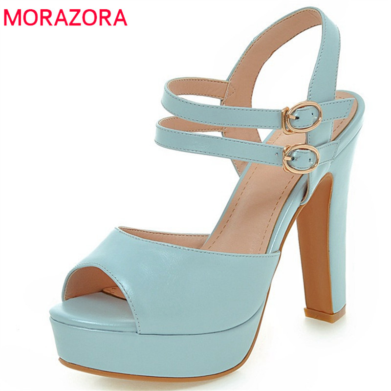 MORAZORA 2018 new arrive women sandals summer sexy party shoes high heels fashion buckle solid peep toe size 33-43 shoes woman weiqiaona new big size 33 43 fashion women shoes sexy lace ladies sandals mesh stiletto peep toe hollow high heel shoes woman