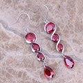 Adorável Criado Red Garnet 925 Prata Esterlina Oscila Brincos Para As Mulheres S0212