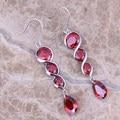 Rojo precioso Creado Granate Plata Esterlina 925 Cuelga Los Pendientes de Gota Para Las Mujeres S0212