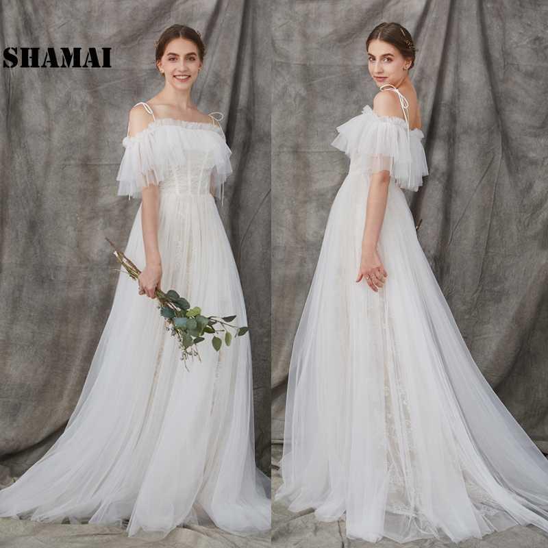 76b038bea6f Страна пляжные свадебные платья 2019 с открытыми плечами Невесты Платье  Иллюзия принцесса vestidos De Noiva свадебное