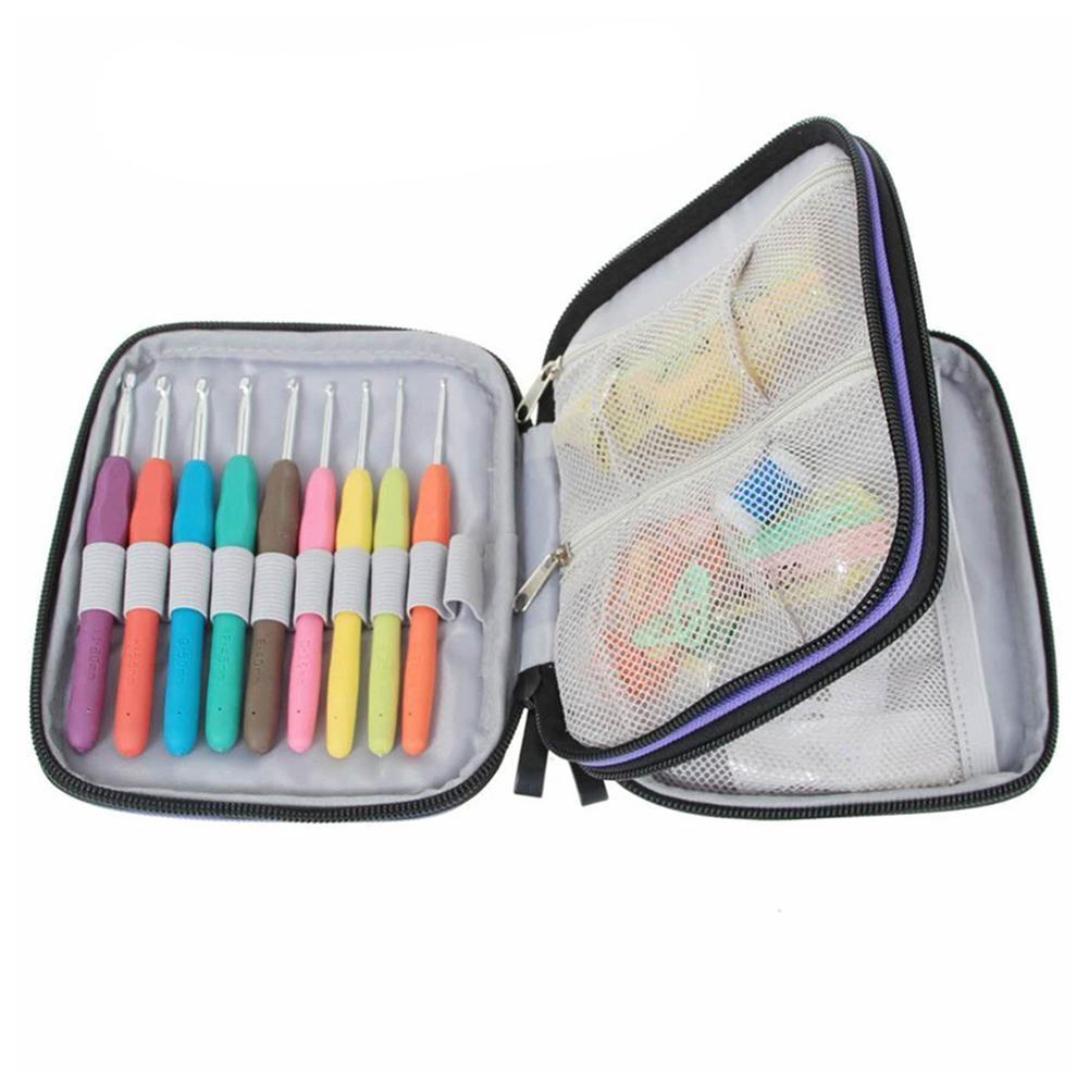 Dos capas de ganchillo bolsa de herramientas Kit Nylon caso Crochet gancho organizador bolsa fijación DIY suministros de costura