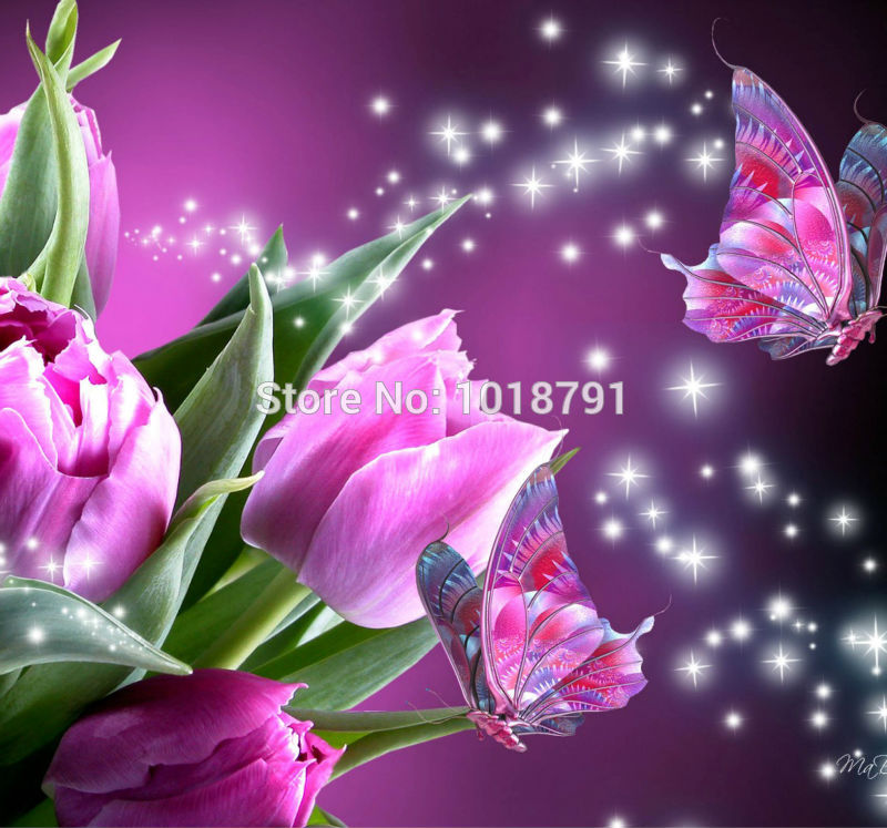 Purple Butterfly With Tulips 20x20cm New Year Diy Diamond Embroidery Painting Cross Stitch Diamond Mosaic Kits For Embroidery in Diamond Painting Cross Stitch from Home Garden