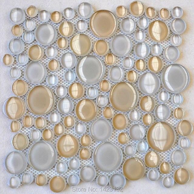 Glas Kiesel Fliesen Platten Penny Runde Glas Fliesen Backsplash HDY02  Kristall Mosaik Wandaufkleber Pool Fliesen Badezimmer