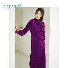 INMAN 2018 Autumn New Arrival Velvet Surface High Neck Elegant H Shape Women Retro Knee-Length Dress(China)