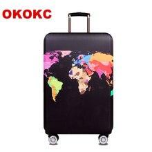 Okokc мира Географические карты упругие толстые Чемодан чехол для багажник случае применяются к 18 »-32» чемодан, чемодан защитная крышка путешествия доступа