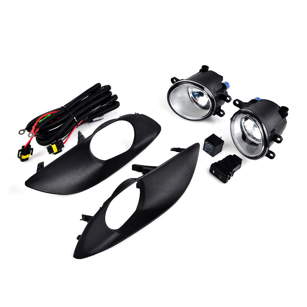 One Pair Front Bumper Fog Light Clear w Switch Cables For Toyota Yaris Sedan Hatchback 2009