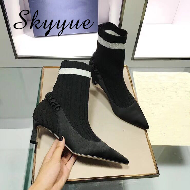 SKYYUE New Socks Boots Hot Ladies 5.5cm Thin HIgh Heel Street Style Women Autumm Winter Boots Boots Shoes Women