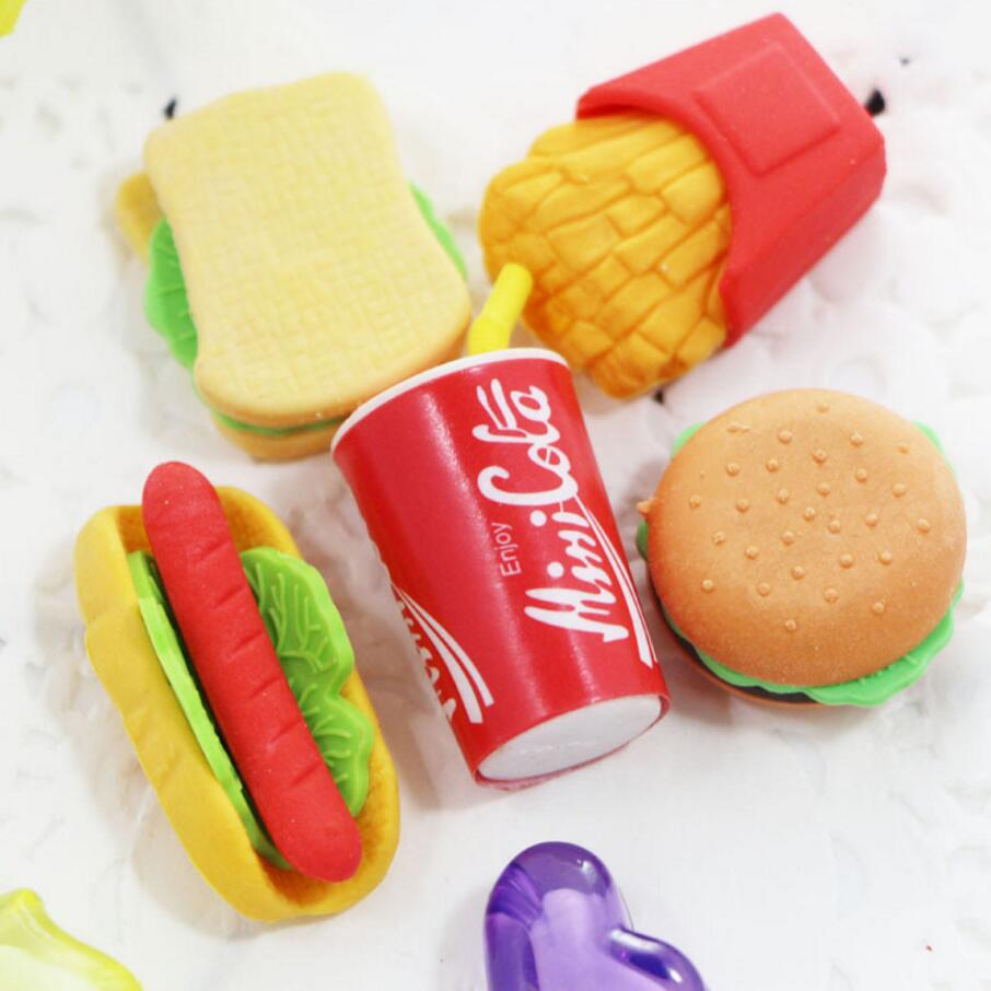 1Pcs Kawaii Cake Hamburger font b Food b font Drink cola Rubber Eraser Set Stationery School