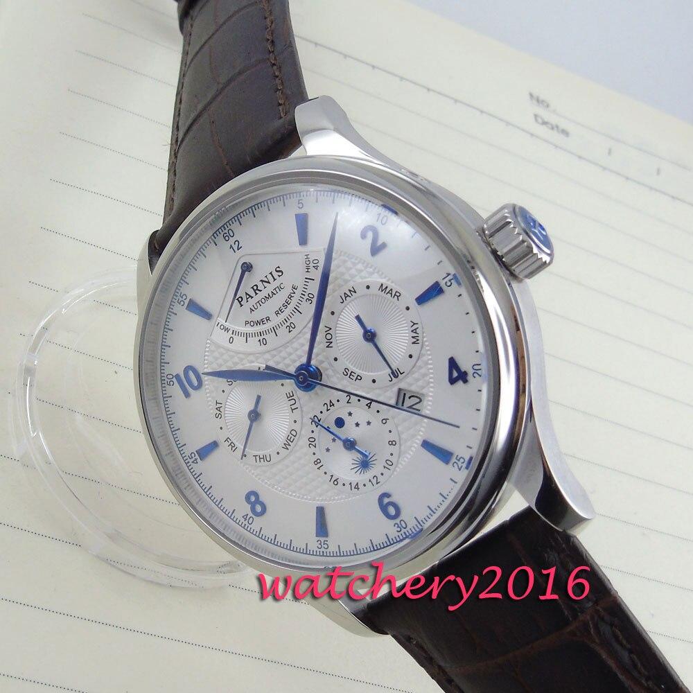 7dcc376c7 42mm parnis para hombre relojes de marca superior de lujo automático  mecánico blanco Esfera de reserva de energía Fecha de ventana para hombre  reloj ...